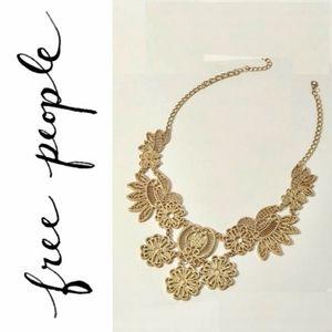 Free People Lace Filigree Bib Statement Necklace